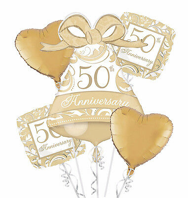 Celebrate 50th Golden Anniversary Balloon Bouquet Party Supply Decoration Favors