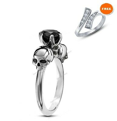 1 00 Carat Simulated Diamond Dual Skull Solitaire 925 Silver Ring With Free Gift