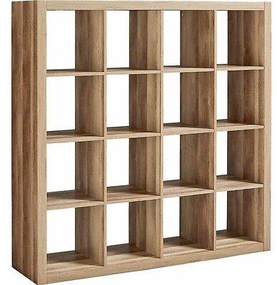 Record Storage Rack Vinyl Home Rustic 16 Cube Storage Unit Shelf Organizer Wood