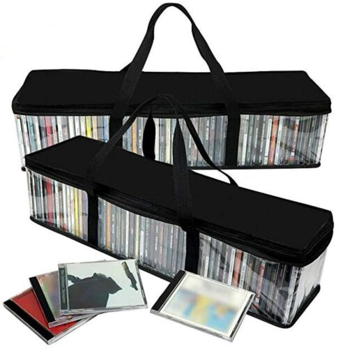 CD Storage Rack Bag Holder Disk Case Media Display Space Store Organizer DVD 2pc