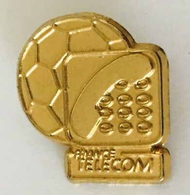 France Telecom Soccer Football Gold Style Pin Badge Vintage  C8