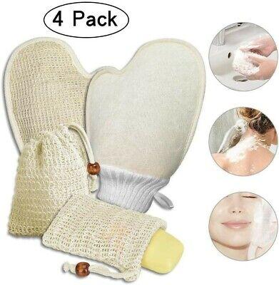 4x Seifensäckchen und Badhandschuhe, 100% Natürliches Sisal Seifenbeutel Bio Nac