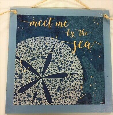 Meet me By the Sea Sand Dollar wooden wall sign bathroom decor decorations - Dollar Decorations