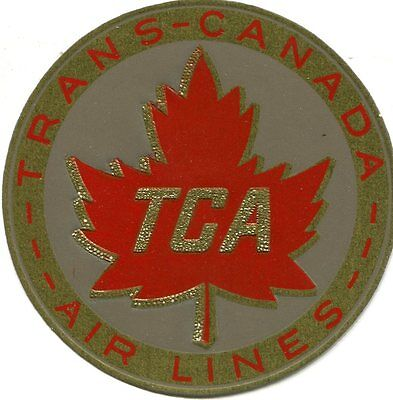 Vintage Airline Luggage Label Trans Canada Airlines Tca Gold Foil Maple Leaf