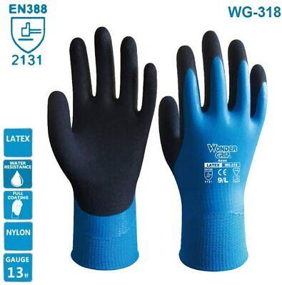 Wg-318 Aqua Latex Grip Gloves Work Waterproof Safety Protection Gloves 1pair