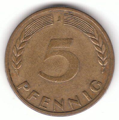 Germany 1949 J 5 Pfennig Brass Clad Steel Coin - Hamburg Mint