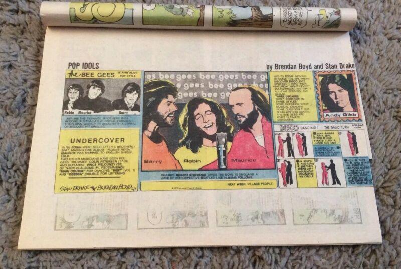 1979 Bee Gees Pop Idols Comic Strip Stan Drake In Book