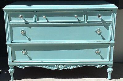 """Vintage JB Van Sciver Dresser Bureau Repainted ReFab Blue 47 5/8""""L x 36""""H x 21""""D"""