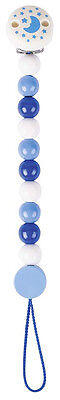 Heimess BLUE PEARLS CLIP ON DUMMY/SOOTHER CHAIN Wooden Baby/Child Toy BN