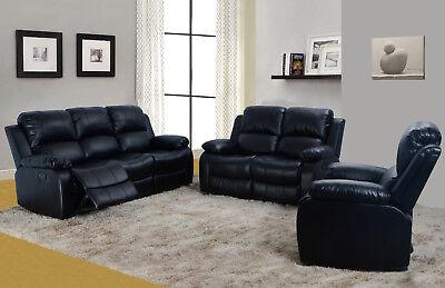 Lifestyle Furniture 3PC Living Room Recliner Sofa Set, Bonded Leather Dining Room Set Recliner
