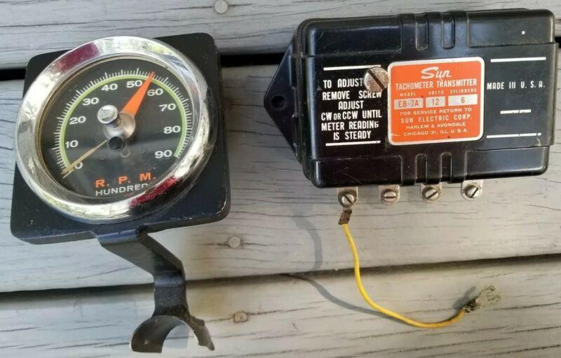 Vintage Sun Electric Tachometer 12 Volt 6 Cylander with Gauge - Made in Chicago