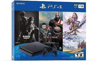 PlayStation 4 Slim 1TB Console+Controller+3 Games: God of War,Horizon,Last of Us