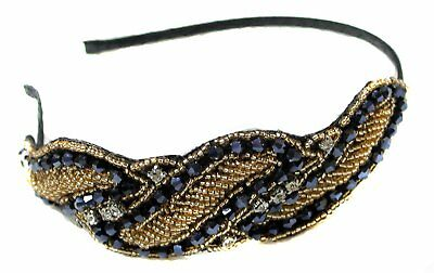 O 1920s FLAPPER BLACK GOLD CRYSTAL BEAD HEADBAND HAIRBAND RI (1920s Great Gatsby Kostüm)