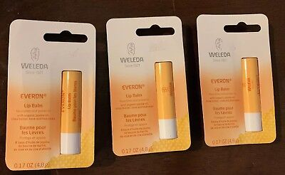 Lot Of 3 Weleda Everon Lip Balm 0.17 oz Nourishes And Protects -