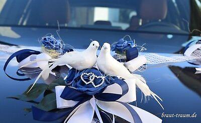 Edler Autoschmuck, blau, Hochzeit. Braut, zum Brautkleid, Brautstrauss