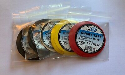 Chart Grid Whiteboard Tape Assort Colors 5 Pack -116 In W X 54 Ft L-free Ship