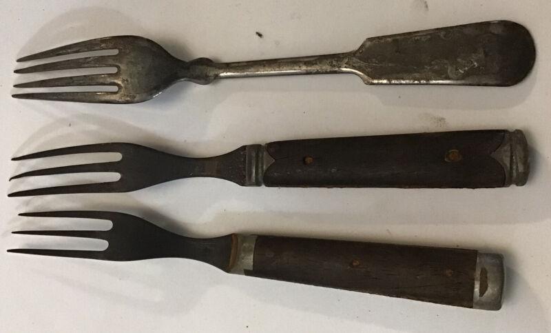 3 Old Forks Wood Handle Old West Civil War Flatware