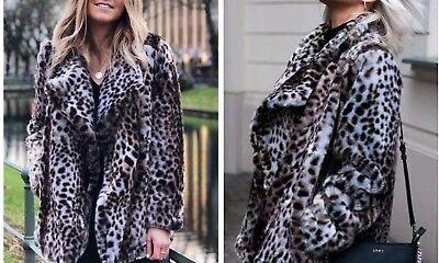 ZARA de Imitación Piel Leopardo Estampado Chaqueta Abrigo Sintética S M