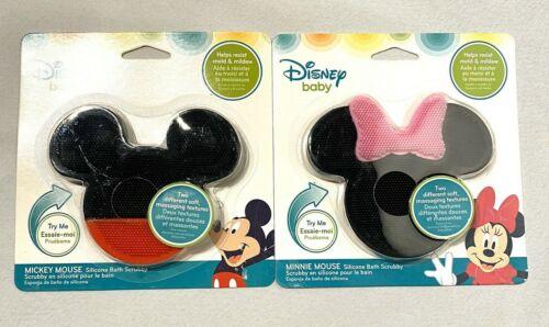 lot 2 disney baby mickey & minnie mouse silicone bath scrubby boys & girls