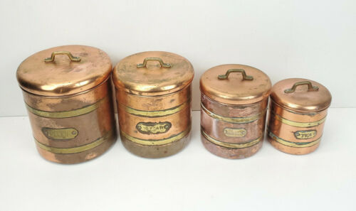 Copper and Brass Vintage Kitchen Container Storage Set Damaged See Pics