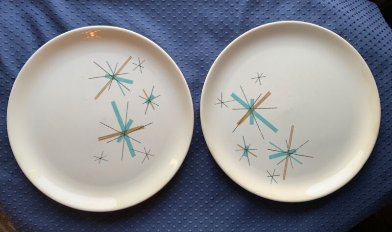 Vintage Salem North Star MCM Atomic Retro 1960s Luncheon Plates Set of 2 #4