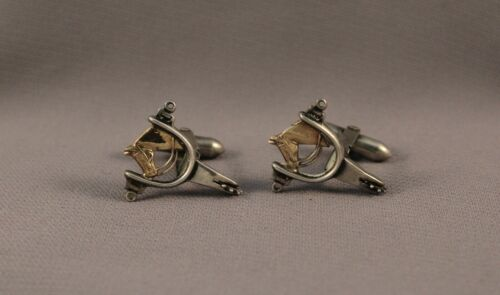 Old Vintage Sterling Silver Horse And Spur Cufflinks