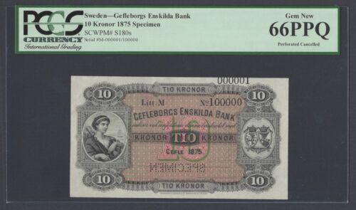 Sweden Gefleborgs Enskilda Bank 10 kronor 1875 Ps180s Litt M Specimen UNC
