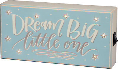 Blue Light Box Sign (Primitives by Kathy Box Sign — Dream Big Little One w/ LED Lighted Stars — Blue )