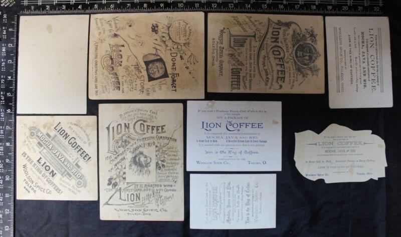 Lot of 9 Lion Coffee / Woolson Spice Co. Trade Card Toledo Ohio (B)