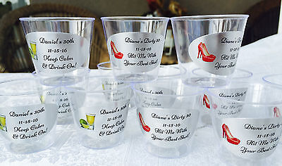 50 PERSONALIZED 1oz. PLASTIC SHOT CUPS for Men/Women Birthday! PARTY FAVORS - Personalized Cups For Wedding