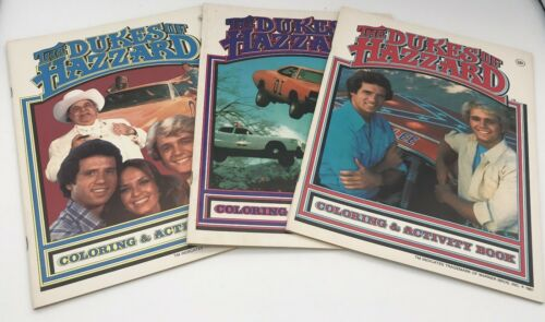 Vintage lot of 3 DUKES OF HAZZARD coloring books