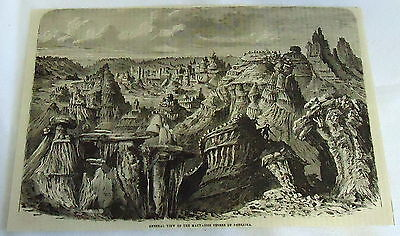 1882 magazine engraving ~ GENERAL VIEW OF MAUVAISES TERRES OF NEBRASKA