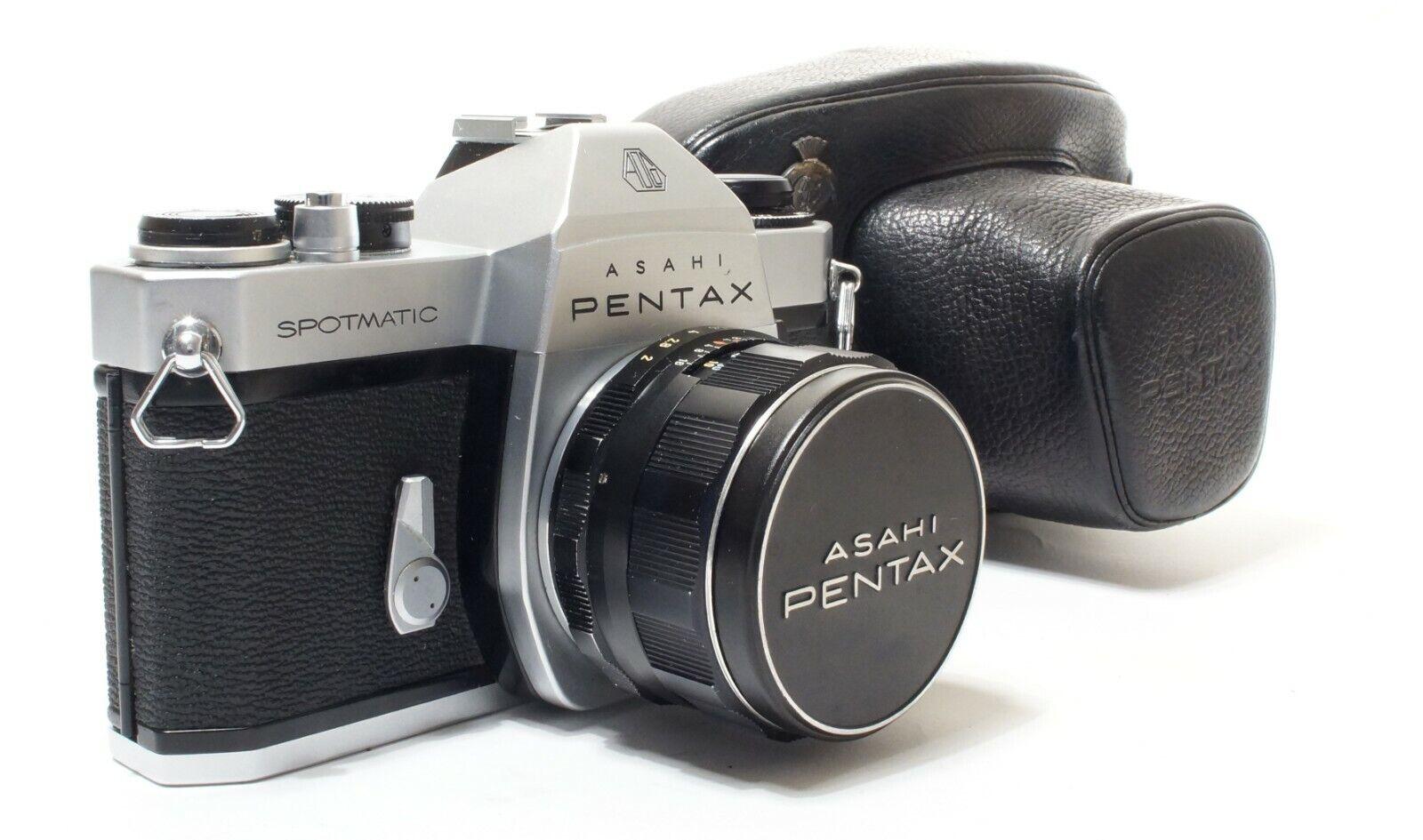 Asahi Pentax SPII 35mm SLR Camera + Pentax Takumar F2/55mm Lens + Case - Nice!