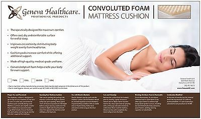 "Geneva Healthcare Egg Crate Convoluted Foam Mattress Pad 4"" Topper King Size"