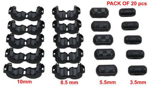 NEW 20 Peices Clip-on Ferrite Ring Core RFI EMI Noise Suppressor Snap Cable Clip