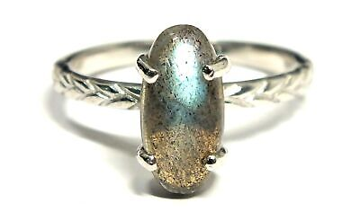 TJC 925 STERL SILVER Oval Cabochon LABRADORITE Solitaire Ring, T.5, 3.88g - M25