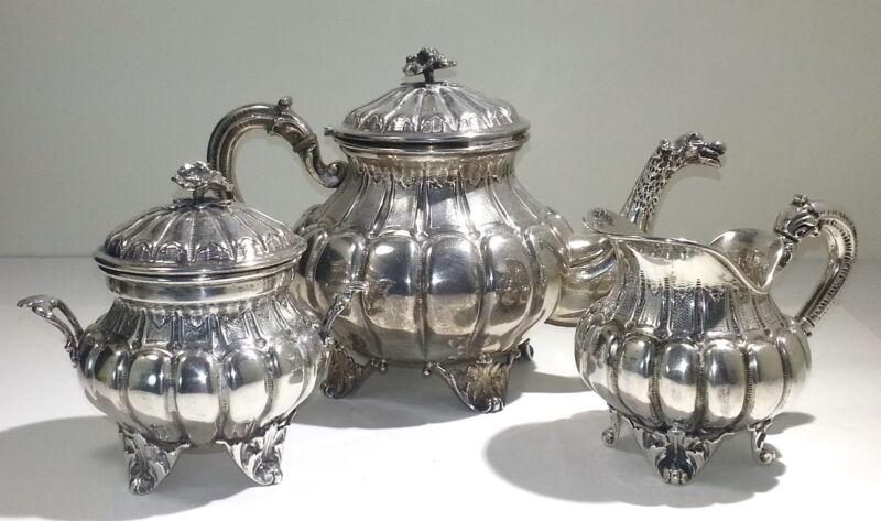 Italian 800 Standard Silver Three Piece Tea Set Service Early 20th century