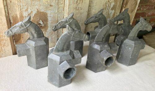 7 Vintage Cast Aluminum Horse Head Fence Post Topper Finials