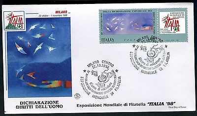 ITALY 1998 HUMAN RIGHTS 50th/UN JOINT ISSUE/ART/FOLON/BIRDS/HAND/PHILATELY FDC
