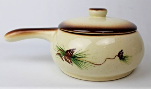 Vtg. Romco Pottery Pot with Handle & Lid - Hand Painted Pine Cone Design - USA