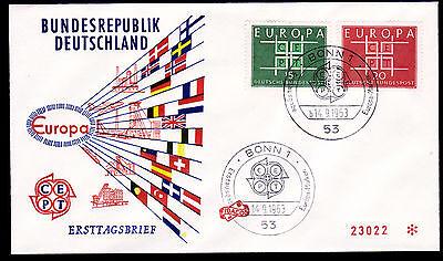 Bund 406-07 FDC-Flaggenstrahlen, SST BONN, CEPT 1963