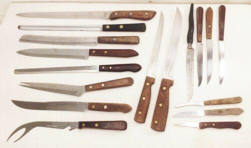 lot of 17 vtg wood handle kitchen butcher knives knife case ekco old homestead