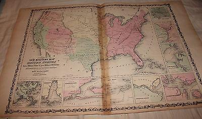 1861 LARGE RARE JOHNSON ANTIQUE ATLAS MAP USA Military Map Civil War era