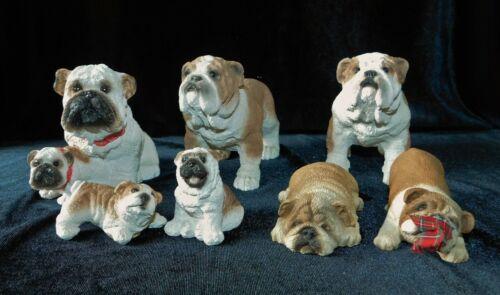 7 English Bulldog Figurines Stone Critters Sandicast Puppy Adorable Sandra Brue