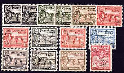 TURKS & CAICOS KGVI 1938-45 CV £72.00 PART SET WITH SHADES M/MINT