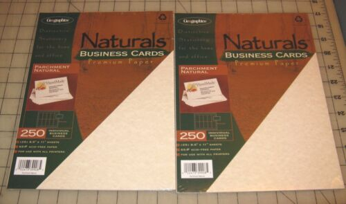2 Geographics Naturals PARCHMENT NATURAL 250-Ct BUSINESS CARDS Packs - NEW