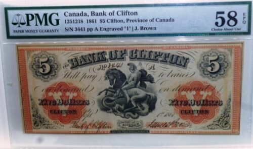 1861 BANK OF CLIFTON $5   PMG 58 , ABOUT  UNCIRCULATED EPQ