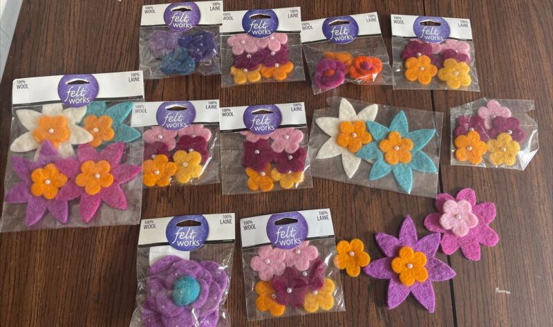 Felt Works Flower Embellishments Lot