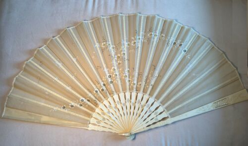 Antique Chinese Carved Brise Hand Painted Silk Fan 19th Century?