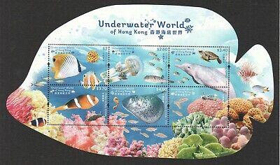 HONG KONG CHINA 2019 UNDERWATER WORLD OF HK ODD SHAPED SOUVENIR SHEET OF 6 STAMP